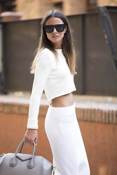all white skirt long maxi top sunglasses handbag street style casual women clothes fashion style outfit apparel