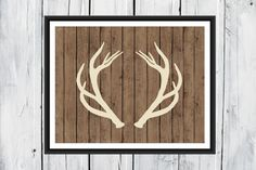 Deer Antlers - Hunting Lodge Decor - Rustic Wood Background - Antler Print