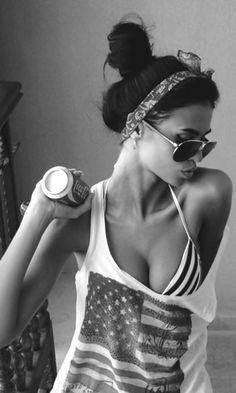 Loose American Flag Tank Top, Striped Bikini Top, Aviator Glasses, Top Knot, Headband, Coca-Cola. #Summer #AmericanPride