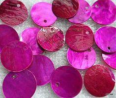 Korálky - Placička perleť 15mm-fuchsia-1ks - 2184332