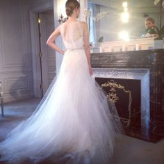 A dreamy halter back on this Romona Keveza Wedding Dress from the Legends Collection | www.instagram.com/theknot
