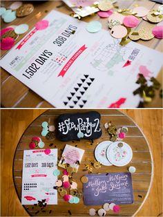 Custom info graphic at bright and bold wedding with a lot of character! Captured By: Caroline Rentzel Photography #weddingchicks http://www.weddingchicks.com/2014/07/07/wedding-sign-palooza/