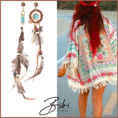 Feather earrings by Bibi Bijoux. Nice to complete your outfit. Matchy items available now! #bibi #bijoux #bibibijoux