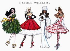 #Hayden Williams Fashion Illustrations #Festive Couture 2014 by Hayden Williams