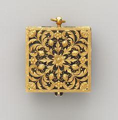 Rock crystal, silver, gold and diamond pocket watch, circa 1660