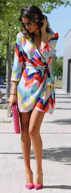 Perfect Bright Multi Coloured Mid Summer Dress Louboutin pattern Shoes and Bag Combination.