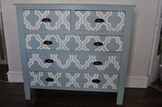 stencil dresser   My idea was to leave the antique brown wood as the 'backdrop', but to ...