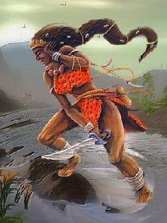 Obá, orixá feminino do rio Oba, uma das esposas de Xangô juntamente com Oxum e Iansã. Obá -  linhadasaguas.com.br