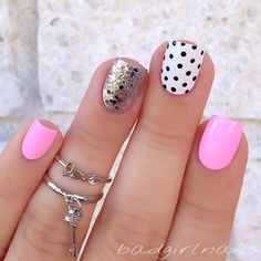 White and black polka dot with pink