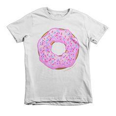 Kids Strawberry Cream Glazed Donut Short Sleeve T-shirt #food #donut #strawberry #dessert #kidsshirt