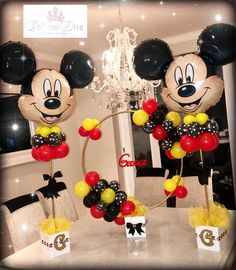 💗Bespoke Tulle Centrepiece 💗 #qualatex #ballooncenterpieces #ballooncentrepiece… Festa Mickey Baby, Mickey Mouse Birthday Decorations, Mickey Mouse Wedding, Theme Mickey, Minnie Mouse Theme Party, Fiesta Mickey Mouse, Mickey Mouse Parties, Mickey Party, Mickey 1st Birthdays