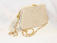 Chanel Cafe Au Lait  Lizard evening shoulder bag / clutch   From a collection of rare vintage handbags and purses at https://www.1stdibs.com/fashion/accessories/handbags-purses/