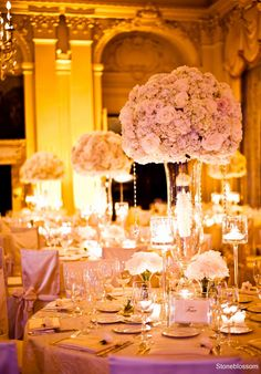Pale pink roses sphere centerpieces with clear crystal vases and hanging crystal