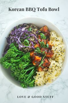 Korean BBQ Tofu Bowl - gochujang spiced tofu with broccoli and quinoa. #vegan #vegetarian #easy #tofu #gochujang #korean #weeknight #bowl