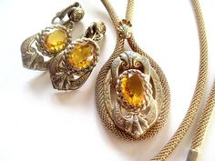 af1837190fad Victorian Revival Golden Mesh Topaz by VintageJewelryMeadow