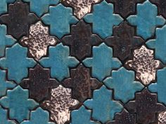 Handmade ceramic tile mosaic, arabesque pattern in turquoise, coal and white