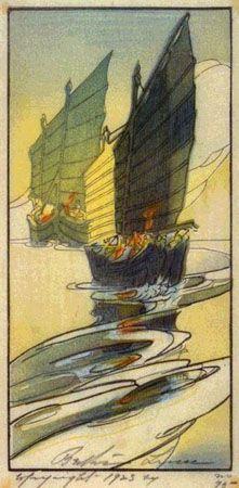 Junks, Wei-hai-wei  by Bertha Lum, 1922