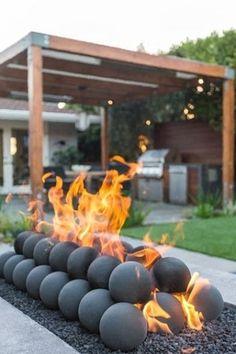 Backyard Patio Designs, Backyard Landscaping, Modern Backyard, Outdoor Fireplace Designs, Outdoor Fireplaces, Fire Pit Backyard, Outdoor Living, Outdoor Spaces, Outdoor Gardens