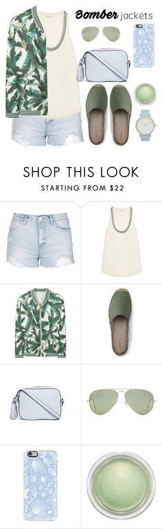 """Light Topping: Summer Bomber Jackets"" by bliznec ❤ liked on Polyvore featuring Topshop, Joie, MANGO, Lands' End, Tory Burch, Ray-Ban, Casetify, MAC Cosmetics, The Horse and bomberjackets"