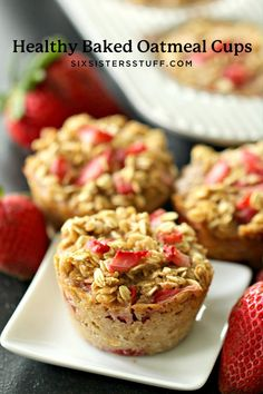 Make a batch of these Healthy Strawberry Baked Oatmeal Cups and enjoy delicious on-the-go breakfasts all week long! Perfect for busy mornings. Strawberry Oatmeal Muffins, Baked Oatmeal Cups, Baked Oatmeal Recipes, Healthy Baked Oatmeal, Strawberry Cheesecake, Healthy Baking, Healthy Snacks, Healthy Recipes, Eating Healthy