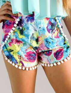 Pom Pom Ball Fringe Shorts - Trendslove