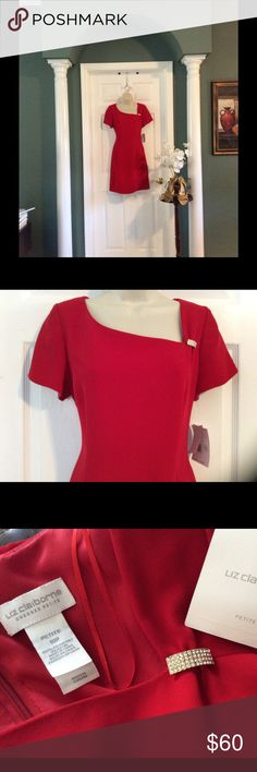 💥💥FLASH SALE🍸RED COCKTAIL DRESS🍸 ABSOLUTELY BEAUTIFUL RED COCKTAIL DRESS PERFECT FOR THOSE HOLIDAY PARTIES, OR ANY OCCASION,  ASYMMETRICAL NECKLINE HAS A LOVELY CRYSTAL PIN WHICH IS REMOVABLE. Liz Claiborne Dresses