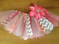 Pink and gray tutu. $25. Etsy.  https://www.etsy.com/listing/162630769/pink-and-grey-chevron-scrap-fabric-tutu