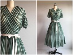 Vintage 1940s Dress / 40s Henry Rosenfeld Sheer Green Stripe Surplice Wrap Dress (affiliate)