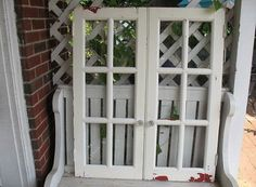 Pair Antique 6 Pane Windows Doors with Glass Knobs White Red chippy Paint by SunPorchOnLilacLane on Etsy
