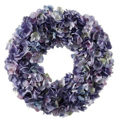 """Wreath Dried Hydrangea 24'' Purple/Green by Jane Seymour Botanicals. $120.00. Realistic, looks just like fresh flowers. Jane Seymour-inspired design. Hydrangea petals just starting to """"crinkle"""" as they dry out- how much more realistic can you get in a faux wreath? This 24"""" diameter wreath is full to the brim with hydrangea, and is 5"""" thick. Part of the Rhapsody Collection""""s blue and purple story. For indoor use or in a sheltered outdoor location, avoid placing in st..."""