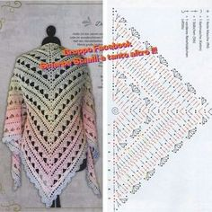 Exceptional Stitches Make a Crochet Hat Ideas. Extraordinary Stitches Make a Crochet Hat Ideas. Poncho Crochet, Crochet Shawl Diagram, Crochet Shawls And Wraps, Crochet Chart, Crochet Scarves, Crochet Clothes, Crochet Lace, Crochet Stitches, Free Crochet