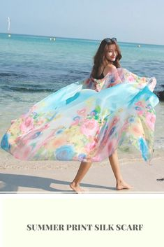 Summer Print Silk Scarf  #Summer #Print #Silk #Scarf