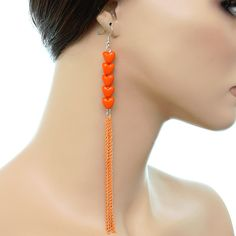 Orange Multi Heart Drop Chain Dangling Earrings | eBay