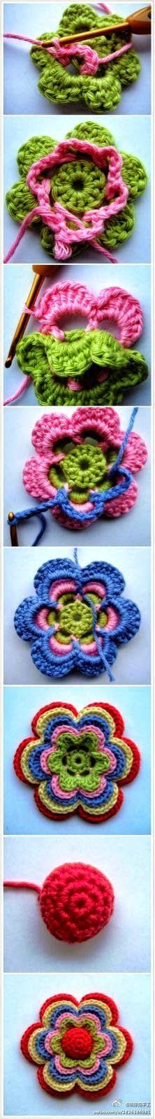 Paso a paso de flor tejida al crochet