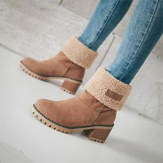 5 Colors Slip-resistant Snow Boots Warm Fur Boots for Women Winter warm fur shoe, lace-up comfort walking boots. Chic boots for women, worldwide fast delivery Dr Shoes, Cute Shoes Boots, Black Mid Calf Boots, Warm Snow Boots, Autumn Boots, Winter Shoes For Women, Cute Winter Shoes, Cute Boots For Women, Fall Booties