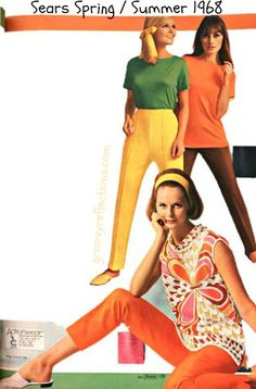 Green, Yellow, Orange, Brown...it's Spring! 1968! Sears Spring/Summer 1968 #sears #fashion #vintage #groovy