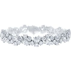 Winston Cluster by Harry Winston, Diamond Bracelet ❤ liked on Polyvore featuring jewelry, bracelets, bracelets & bangles, diamond, joias, diamond bangle bracelet, diamond bracelet bangle, bracelets bangle, hinged bracelet and hinged bangle
