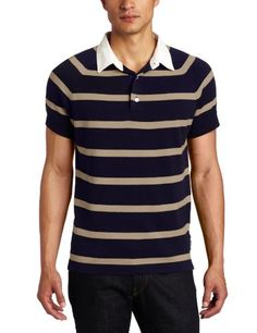 French Connection Men%27s Montage Stripe Short Sleeve Polo