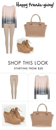 """Friends-giving party"" by fashiontewes ❤ liked on Polyvore featuring 7 For All Mankind, JustFab and Michael Kors"