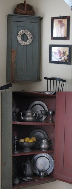 I LOVE this corner cabinet!!  LOOK at that gorgeous pewter next to the red paint.....PERFECT!!!!
