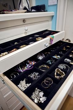 Beautiful felt-lined drawers for organizing jewelry ... similar to the jewelry chest i have now, but dresser-sized!
