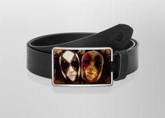 Belt Venice Horror N°2 | Wechselwild Belt with interchangeable designs #belt #buckle #guertel #lederguertel #guertelschnalle #leder #leatherbelt #leather #horror #venice #drawing #scary #whitexs