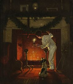 """Norman Rockwell - 1919 - """"Is He Coming?"""" - By: Norman Rockwell Norman Rockwell Christmas, Norman Rockwell Art, Norman Rockwell Paintings, Vintage Illustration, Illustration Noel, Christmas Illustration, Christmas Scenes, Christmas Art, Vintage Christmas"""