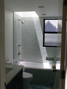 Small bathroom - window and love the skylight!