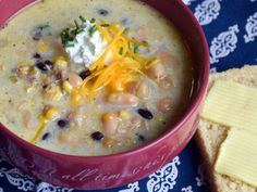 Easy White Chicken Chili Soup Supreme - A Proverbs 31 Wife Shredded Chicken Recipes, Yummy Chicken Recipes, Chili Soup Recipe, Chili Recipes, Crockpot Recipes, Tasty Dishes, Food Dishes, Crockpot White Chicken Chili, Favorite Recipes