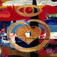 This is a close up on one of my pieces showing my Conscious Love™ symbol. This symbol is very prevalent in my works. Consciousness, My Works, First Love, Symbols, Painting, Art, Art Background, Knowledge, First Crush