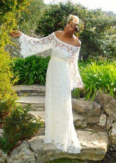 boho lace crochet wedding dress