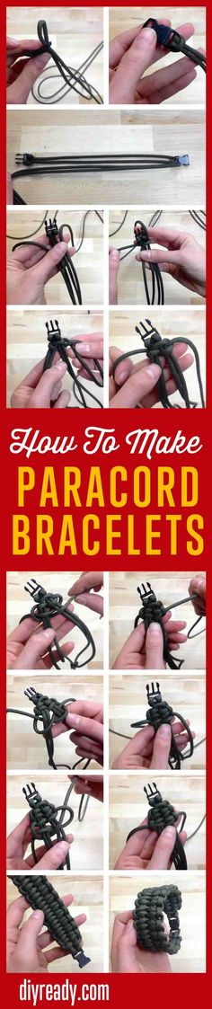 How to make a paracord bracelet? Check out this survival paracord bracelet's easy tutorials for different knots, braiding, and weave patterns. Paracord Knots, Paracord Bracelets, Survival Bracelets, Hemp Bracelets, Easy Diy Crafts, Creative Crafts, How To Make Everything, Make Your Own Bracelet, Paracord Projects