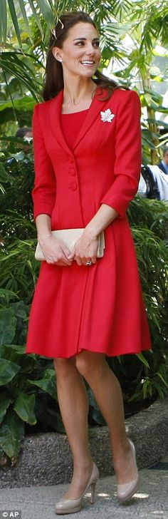 Princess Kate in a particularly lovely red dress in honor of Canada