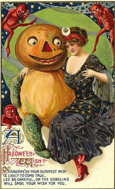 WARNINGSL: This Halloween card warns of goblins, which are rarely a part of Halloween today. Also, early Halloween greetings made use of fruts and vegetables, in keeping with the harvest season.  These friendly pumpkjin headed figures have long been forgotten but the occasional fearsome scarecrow is stuill a part of Halloween folklore.